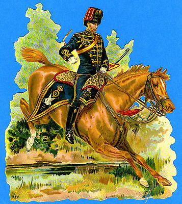 c1890 VICTORIAN DIE-CUT ALBUM SCRAP MILITARY KINGS OWN HUSSARS MOUNTED TROOPER