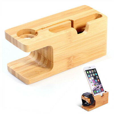 Bamboo Charging Dock Station Charger Stand Holder For Apple Watch iWatch iPhone