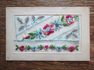 PRETTY FLORAL EMBROIDERED SILK POSTCARD PUBLISHED BY J. S. PARIS (1910s)