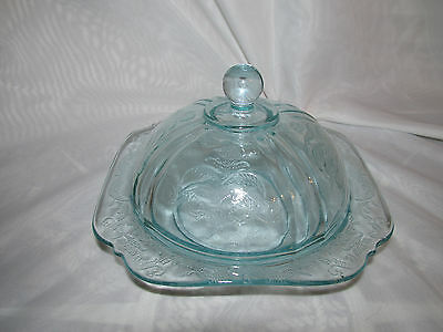 Federal Glass Turquoise  Madrid Butter Dish Must See!!