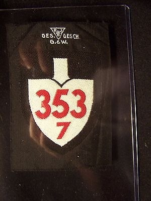 Original Vintage Wwii  German Rad Sleeve Patch Unit 353 / 7
