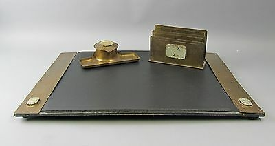 Arts&Crafts Potter Studio 3pc Hammered Bronze&Jade Desk Set Inkwell, Blotter+
