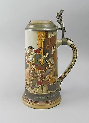 Marzi & Remy Antique German Stein with Lid  Marked 1620 Medieval Knights Theme