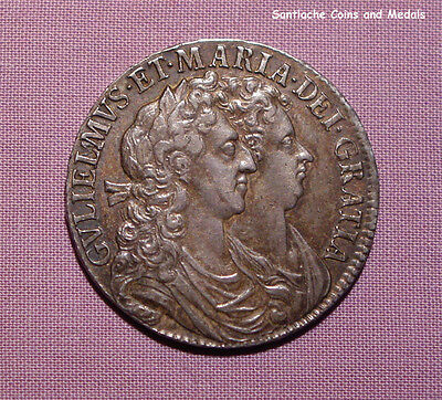 1689 WILLIAM & MARY SILVER HALF CROWN - Rare High Grade Error Coin Nicely Toned