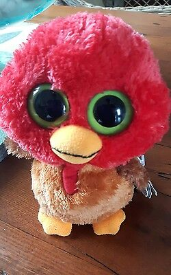 Ty BEANIE BOOS collection THANKFUL small plush stuffed turkey with tag BiG EYES