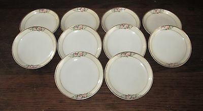 """Set of 10 Vintage FIELD Butter Pat Plates - Pink Rose Pattern with Gold - 3.25"""""""