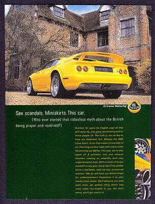 """2003 Yellow Lotus Esprit Coupe photo """"You'll Get Used to It"""" promo print ad"""