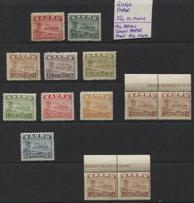 Nauru 1924 - 1928 Freighter MNH / Used Values to 2/6 - Both Paper Types £92.15