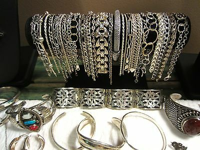 Large STERLING SILVER JEWELRY LOT*Not Scrap Resell or Wear 1700 Grams-Gemstones