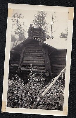 Old Vintage Antique Photograph Man Standing on Roof of Log Cabin House