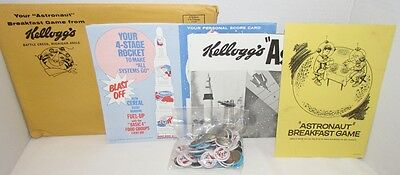 1960s Kelloggs Astronaut Breakfast Game set for teachers w/ 30 pins, poster+++