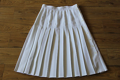 vintage 80s 90s St Michael buttons side white pleated skirt size 12-14 label 16