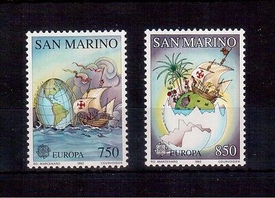 SAN MARINO 1992 EUROPA #1264/65 SET VF NH DISCOVERY OF AMERICA 500th ANNIVERSARY