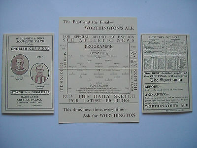 1913 FA Cup final programme Aston Villa v Sunderland in mint condition.