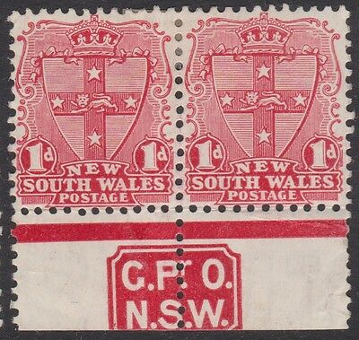 New South Wales 1d (SG type 62) Die II imprint pair GPO/NSW mint