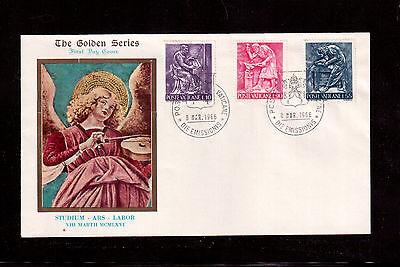 VATICAN 1966 FIRST DAY COVER with #423/29/31, ARTS AND CRAFTS !!