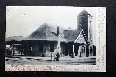 c.1905 Postcard Scene Outside the Rail Road Station in Stoughton, Mass. - Posted
