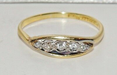 Art Deco 18ct Yellow Gold & Platinum Diamond 5 Stone Ring size M