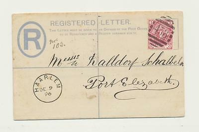 CAPE OF GOOD HOPE 1896, HAARLEM TO PORT ELIZABETH,4d REG ENVELOPE+1d ADDED