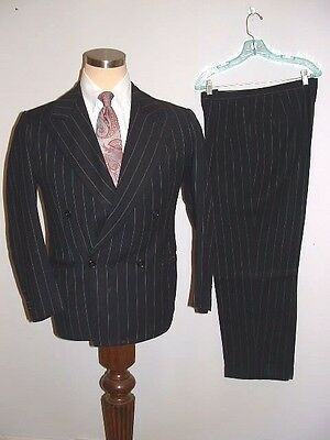 Vintage 1940's/50's Hollywood Style Chalk Stripe Gangster Bankster Drop 38S