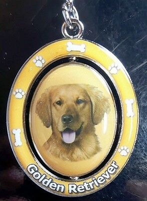 New GOLDEN RETRIEVER Spinning Keychain Dog Pet Gift Key Chain