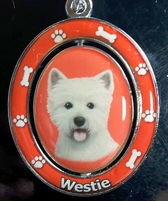New WESTIE Spinning Keychain Dog Pet Gift Key Chain