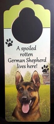 New GERMAN SHEPHERD Door Knob Handle Hanger Wooden Sign Spoiled Rotten Dog
