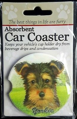 New YORKIE Dog Absorbent Car Coaster Cup Holder Dry Stoneware Terrier