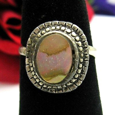 ABALONE Sea SHELL RING Vintage in Silvertone Adjustable Seashell Purple Sheen