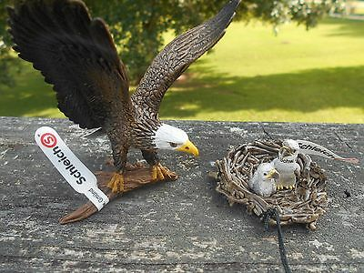 BALD EAGLE AND NEST by Schleich; toy/bird/eagles/14634/14635/RETIRED