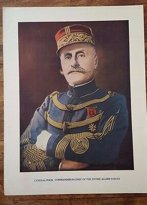 "Original Antique WWI PRINT- General FOCH Poster 9.5"" by 12.5"" World War One"