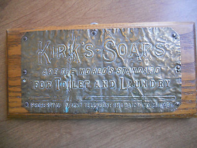 "Vintage Kirk's Soap's BRASS SIGN Chicago 3.5""x7"""