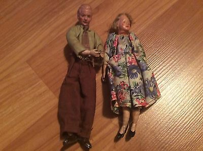 2 vintage CACO dollhouse miniature dolls Mother & Father  Germany bendable