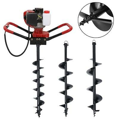 """Gas Powered Post Hole Digger Machine 56cc Fence Ground Drill + 4'' 6'' 10"""" Auger"""