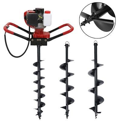 """One man 52CC Gas Powered Hole Digger Machine 4'' 6"""" 10"""" Auger Bits Soil Planting"""