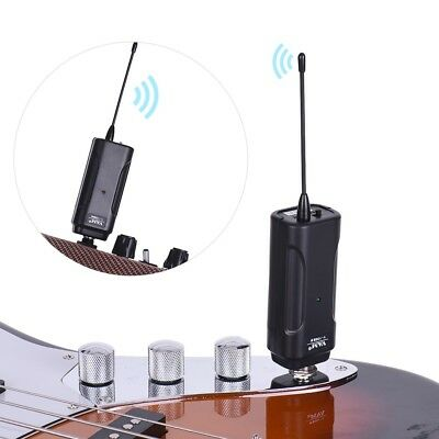Black ABS Wireless Audio Transmitting and Receiving System for Electric Guitar