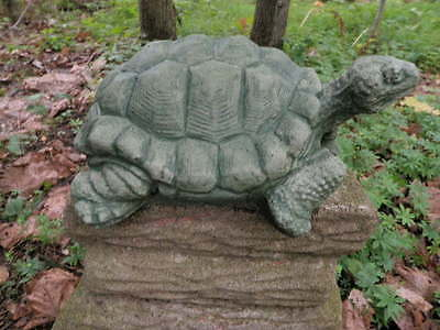 """Large 11.5"""" Cement Snapping Turtle Garden Art Green Concrete Statue  Realistic"""