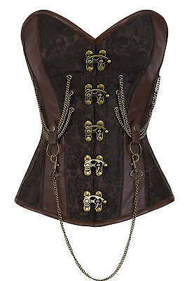 High quality Corset Basque Brown Gothic Bustier Steampunk Top Laundry bags