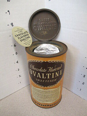 OVALTINE 1939 Little Orphan Annie premium tin metal can + FOIL SEAL paper insert
