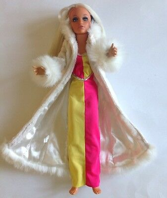 Vintage 1973 IDEAL TIFFANY TAYLOR FASHION DOLL With Dress + Faux Fur Maxi Coat
