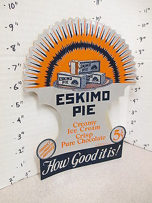 ESKIMO PIE 1930s chocolate ice cream bar deco die cut foil store display sign