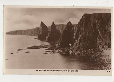 The Stacks Of Duncansby John O Groats 1937 RP Postcard H Manson 580b