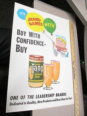 TANG ORANGE INSTANT DRINK MIX 1960s ad store display sign cartoon kid balloons