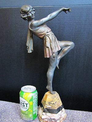 Antique Art Deco French Spelter Dancer Lady Statue w/ Marble Base.