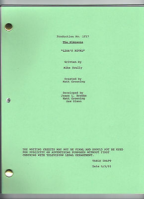 "THE SIMPSONS show script ""Lisa's Rival"""