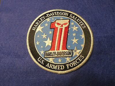 "New! HARLEY DAVIDSON ""SALUTES U.S. ARMED FORCES""  Willie G Skull Patch 4"""