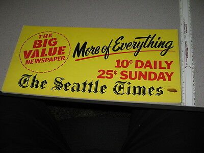 Seattle WA Times newspaper sign YELLOW 1960s store display card
