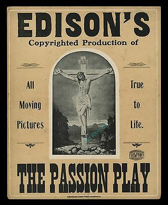 Edison's The Passion Play ☆ 1898 Poster Obtained From Edison! ☆ With Provenance!