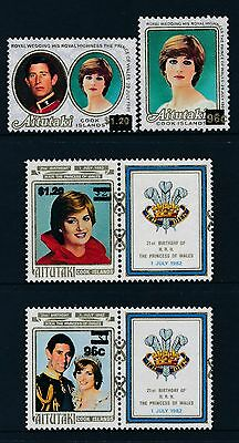 1983 Aitutaki Princess Diana Set Of 4 With Surcharges Fine Mint Mnh/muh