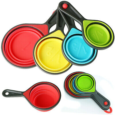 4 Collapsible Silicone Measuring Cup Spoons  - By TRIXES